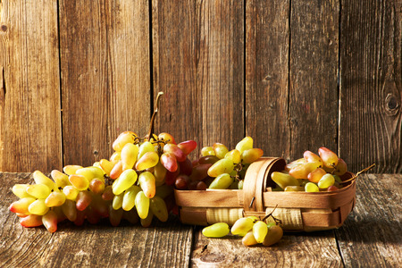 grape: Fresh grapes on old wooden table