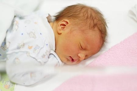 newborn: Three days old newborn baby in bed