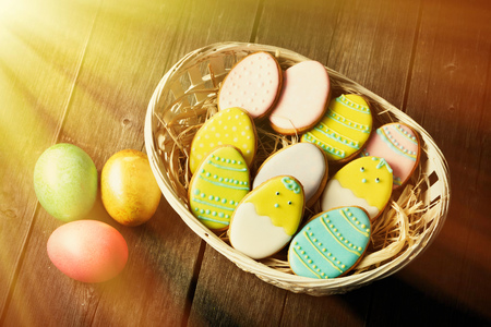 easter cookie: Easter homemade gingerbread cookie over wooden table