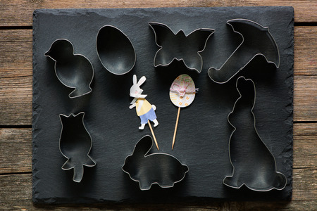 stone cutter: Easter cookie cutters on slate