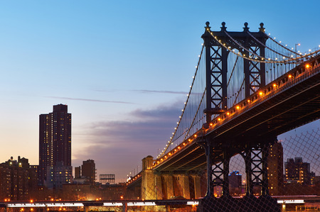 manhattan bridge: Manhattan Bridge and skyline silhouette view from Brooklyn in New York City at sunset Stock Photo