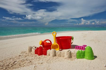 beach toys: Beach toys in the sand