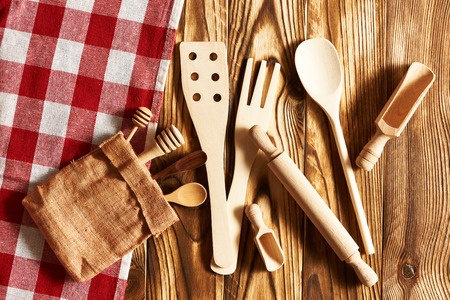 rustic: Wooden utensils on rustic background
