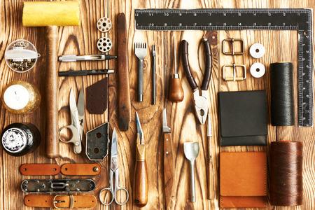 wood craft: Leather crafting DIY tools flat lay still life