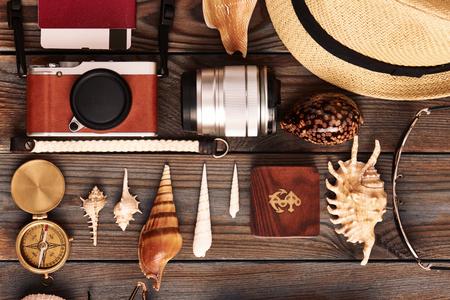 old items: Travel items flat lay still life
