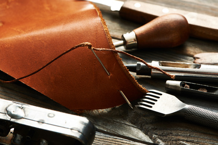 crafting: Leather crafting DIY tools still life