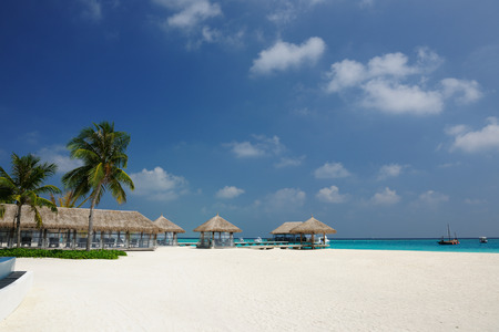 bungalow: Beautiful beach with bungalow jetty at Maldives Stock Photo