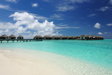 bungalows: Beautiful beach with water bungalows at Maldives Stock Photo
