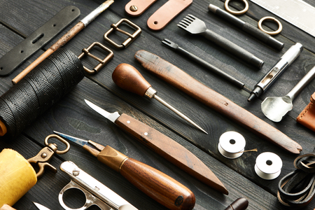 tailor shop: Leather crafting DIY tools still life