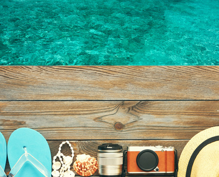 beach view: Travel and beach items at jetty