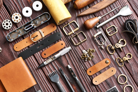 leather: Leather crafting DIY tools flat lay still life