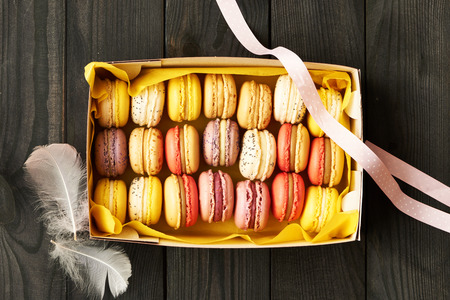 french bakery: French delicious dessert macaroons in box