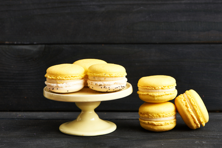 dessert: French delicious dessert macaroons on table