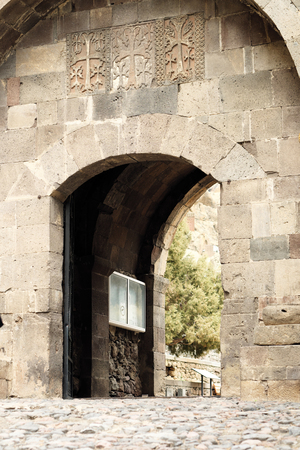 founded: Sacred place at Ancient monastery Geghard in the mountains of Armenia. Was founded in 4th century. Stock Photo