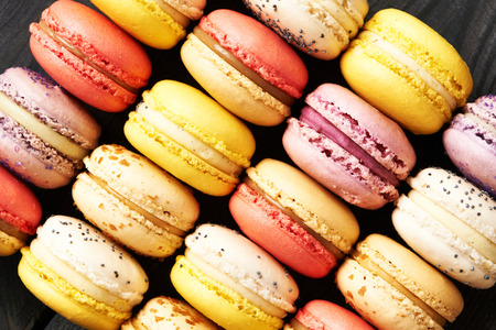 vintage patterns: French delicious dessert macaroons on table