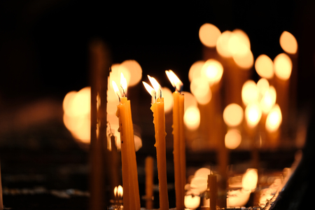 christian candle: Candles in church, shallow depth of field