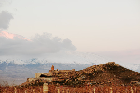 founded: Ancient monastery Khor Virap in Armenia with Ararat mountain at background. Was founded in years 642-1662. Stock Photo