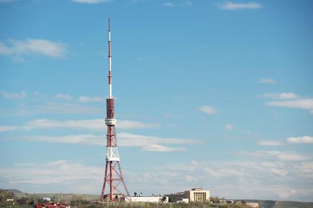 antenna: City view of Yerevan with antenna tower Stock Photo