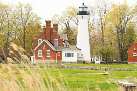 lake michigan lighthouse: Port Sanilac faro, construido en 1886, Lago Huron, Michigan, EE.UU. Foto de archivo