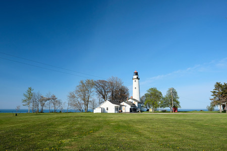huron: Pointe aux Barques Lighthouse, built in 1848, Lake Huron, Michigan, USA Stock Photo