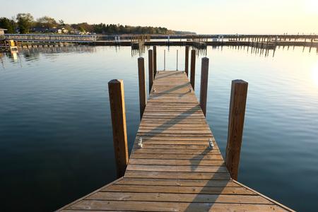 huron: Marina on Lake Huron at Port Austin, MI, USA Stock Photo