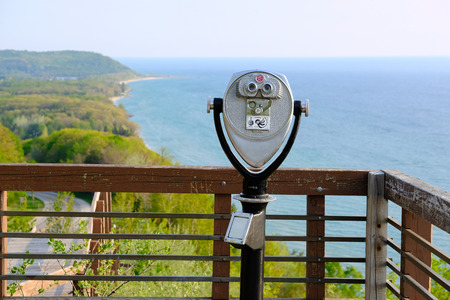 and arcadia: Tourist binoculars at Lake Michigan overlook near Arcadia, MI, USA