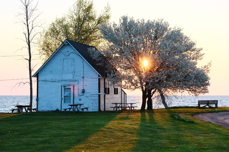 aux: Sunrise at Pointe aux Barques, Lake Huron, Michigan, USA Stock Photo