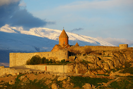 monastery nature: Ancient monastery Khor Virap in Armenia with Ararat mountain at background. Was founded in years 642-1662. Editorial