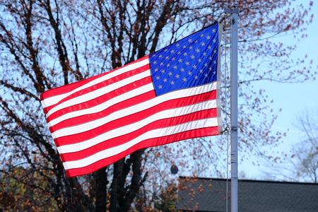 suburban neighborhood: American flag at suburban neighborhood