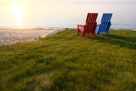 Sunset at Lake Huron at Port Austin, MI, USA Standard-Bild