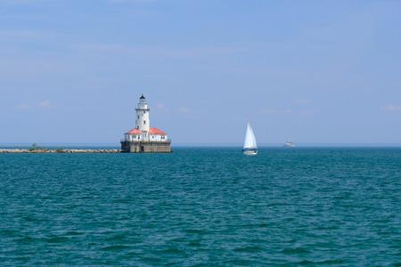 lake michigan lighthouse: Chicago Harbor Lighthouse, built in 1893, Lake Michigan, Chicago, IL, USA