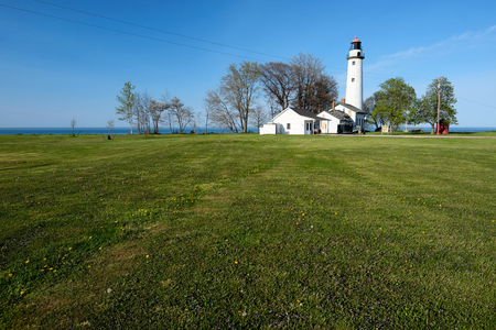 lake michigan lighthouse: Pointe aux Barques Lighthouse, built in 1848, Lake Huron, Michigan, USA Foto de archivo
