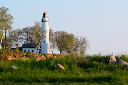 lake michigan lighthouse: Pointe aux Barques Lighthouse, built in 1848, Lake Huron, Michigan, USA Foto de archivo