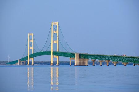 built in: Mackinac suspension bridge at morning, built in 1957, Michigan, USA