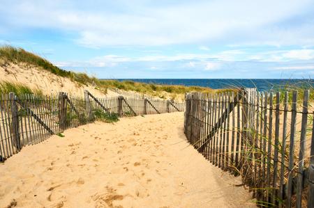 cape: Path way to the beach at Cape Cod, Massachusetts, USA. Stock Photo