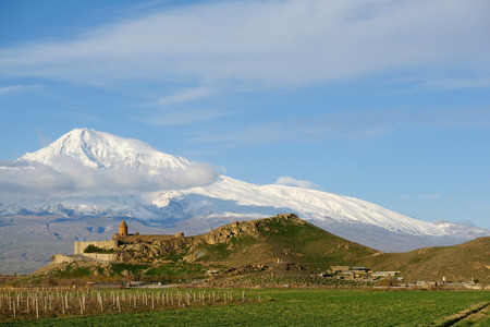 armenia: Ancient monastery Khor Virap in Armenia with Ararat mountain at background. Was founded in years 642-1662. Editorial
