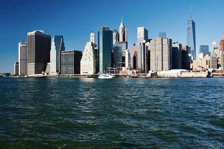 city landscape: Lower Manhattan skyline view from Brooklyn in New York City