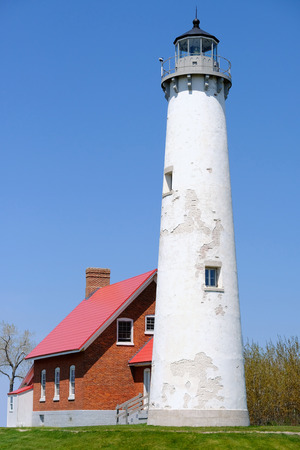 shorelines: Tawas Point Lighthouse, built in 1876, Lake Huron, Michigan, USA