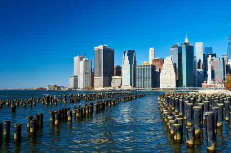city landscape: Lower Manhattan skyline view from Brooklyn Bridge Park in New York City