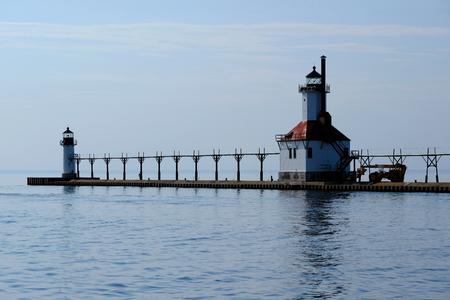 st  joseph: St. Joseph North Pier Lights, built in 1906-1907, Lake Michigan, MI, USA