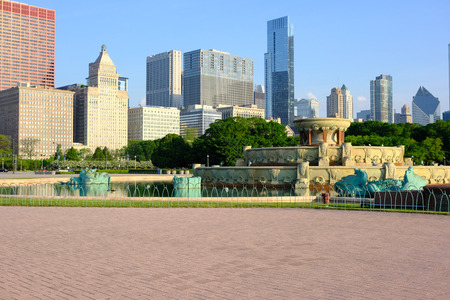 Chicago skyline and Buckingham Fountain in the morning. Stock Photo