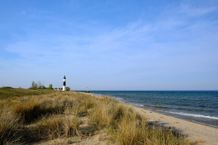 mi: Big Sable Point Lighthouse in dunes, built in 1867, Lake Michigan, MI, USA Stock Photo
