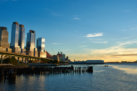 sunset city: Riverside neighborhood in New York City at sunset