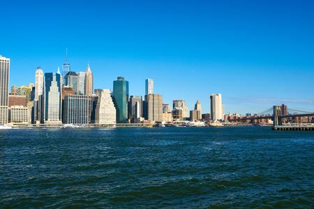 lower manhattan: Lower Manhattan skyline and Brooklyn bridge in New York City Stock Photo