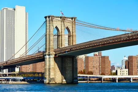 lower manhattan: Lower Manhattan skyline and Brooklyn bridge in New York City Editorial