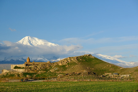founded: Ancient monastery Khor Virap in Armenia with Ararat mountain at background. Was founded in years 642-1662. Editorial