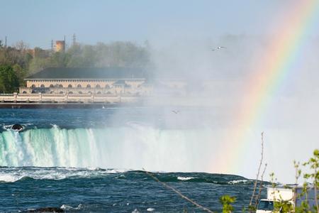 mist: American side of Niagara Falls with rainbow, New York, USA