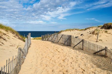 Path way to the beach at Cape Cod, Massachusetts, USA. Stock Photo