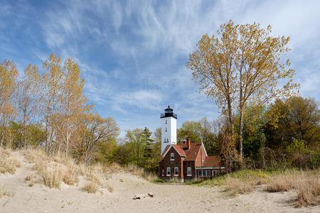 built in: Presque Isle lighthouse, built in 1872, Lake Erie, Pennsylvania, USA Stock Photo