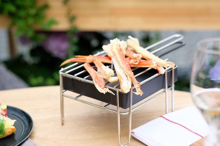 outdoor restaurant: Crab legs in outdoor restaurant